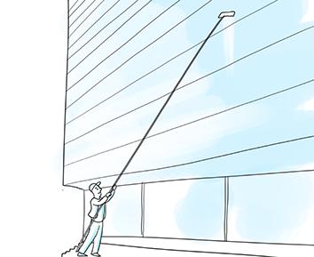 Reinigung einer Glasfassade