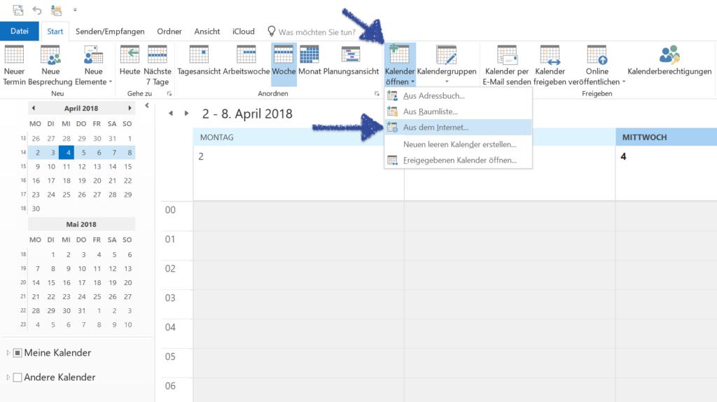 Windows Outlook Kalender hinzufügen