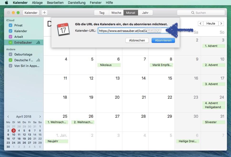 Mac Kalenderabonnement URL einfügen