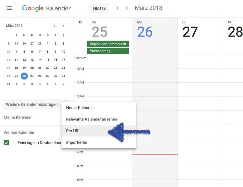 Google Kalender per URL auswählen